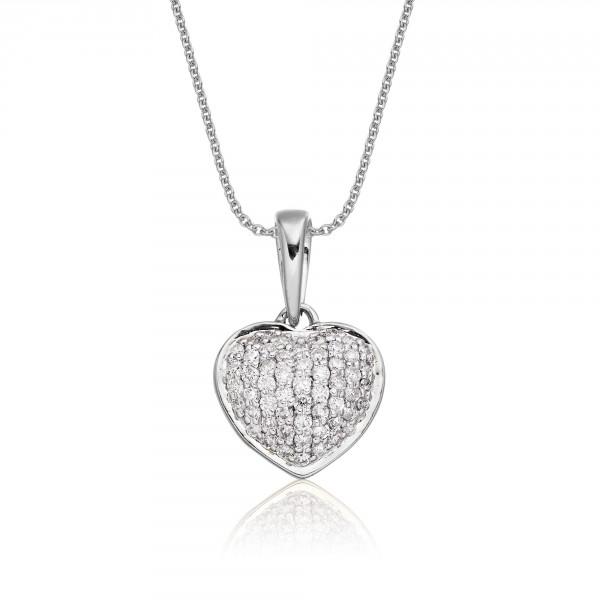 Disco Diamond Heart Pendant 0.25ct Diamond 18K White Gold