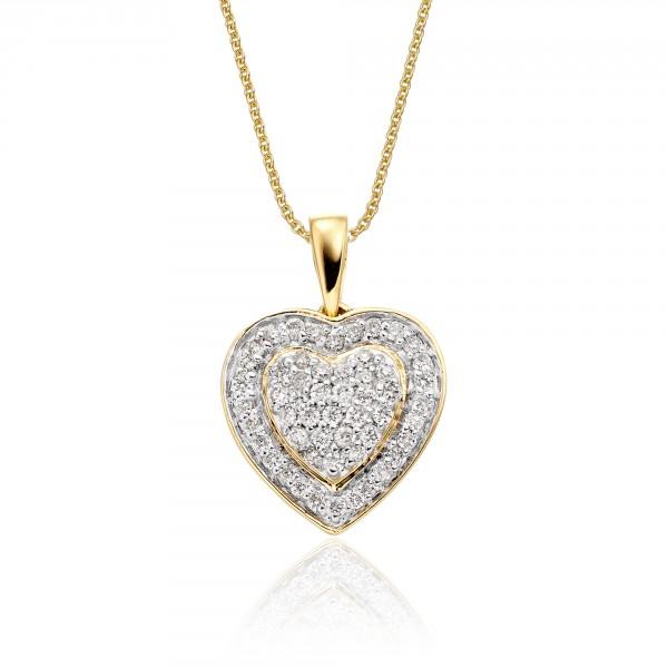 Fire Diamond Heart Pendant 0.25ct Diamond 9K Yellow Gold