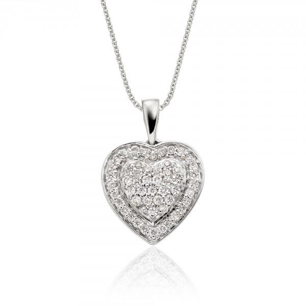 Fire Diamond Heart Pendant 0.25ct Diamond 9K White Gold