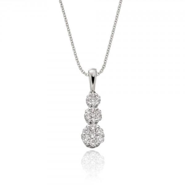 Illusion Trilogy 0.20ct Diamond Pendant In 18K White Gold