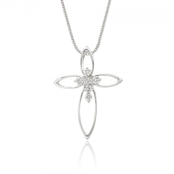 Diamond cross pendant diamond cross necklaces in white gold and diamond cross pendant 008ct diamonds in 18k white gold aloadofball Image collections