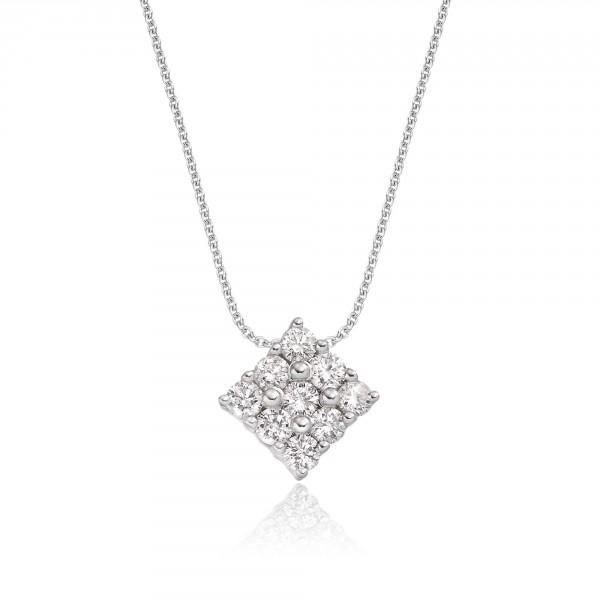 Square 0.30ct Cluster Diamond Pendant In 18K White Gold