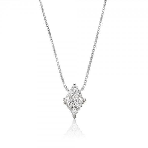 Diamond Shape 0.15ct Cluster Diamond Pendant In 18K White Gold