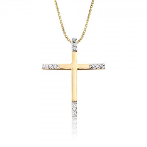 Classic Diamond Cross Pendant 0.15ct In 9K Yellow Gold
