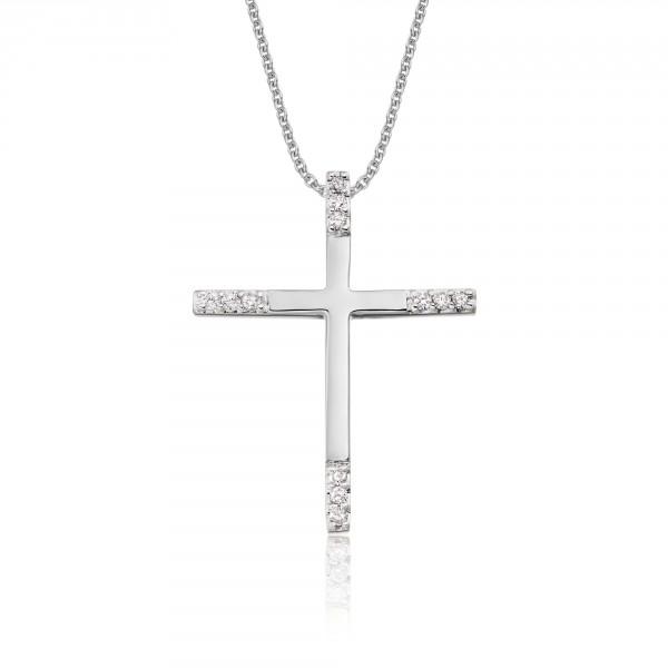 Classic Diamond Cross Pendant 0.15ct In 18K White Gold