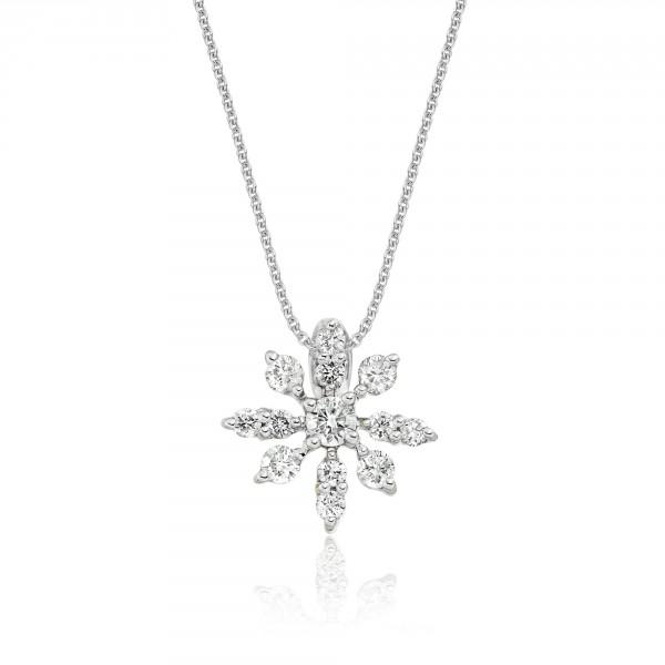 Fleur 0.25ct Cluster Diamond Pendant In 18K White Gold