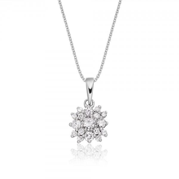 Blossom 0.30ct Cluster Diamond Pendant In 18K White Gold