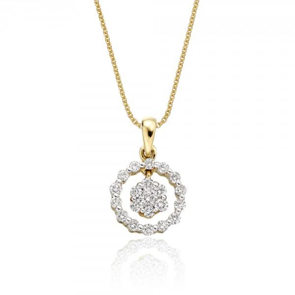 Orbit 0.25ct Cluster Diamond Pendant In 9K Yellow Gold