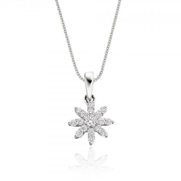 Lotus 0.25ct Cluster Diamond Pendant In 18K White Gold