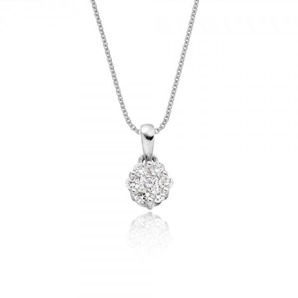 Flower Shape 0.20ct Cluster Diamond Pendant In 18K White Gold