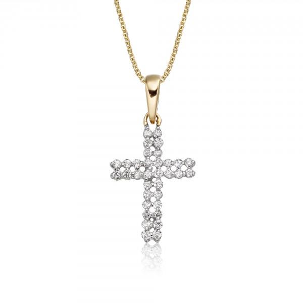 Diamond Cross Pendant 0.17ct In 9K Yellow Gold