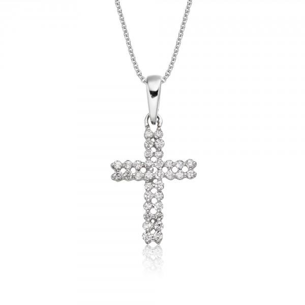 Diamond Cross Pendant 0.17ct In 18K White Gold