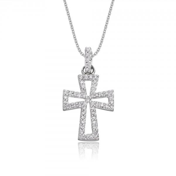 Diamond Cross Pendant 0.15ct In 18K White Gold