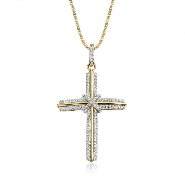 Elevation Diamond Cross Pendant 0.30ct In 9K Yellow Gold