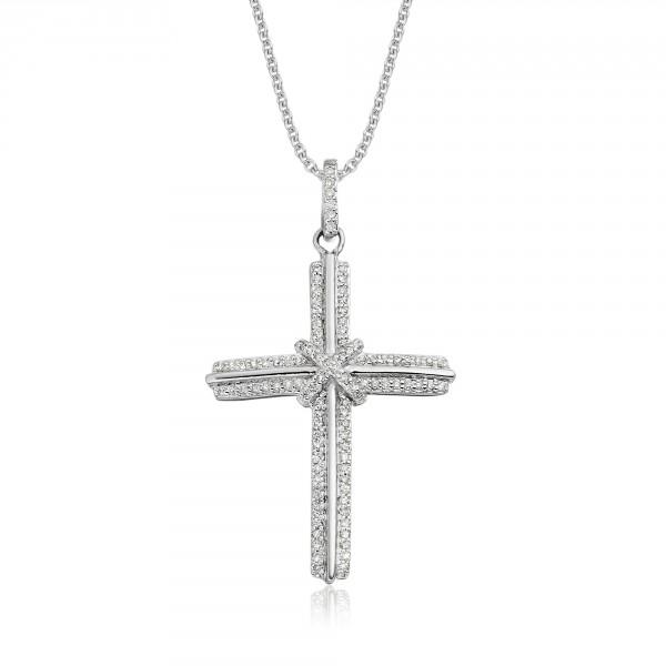 Elevation Diamond Cross Pendant 0.30ct In 18K White Gold