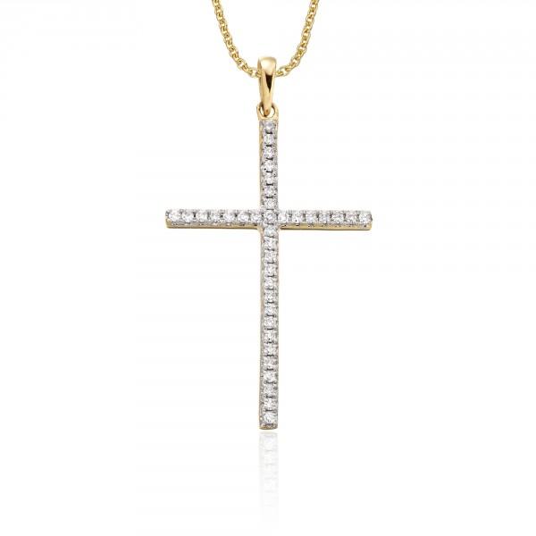 Diamond Cross Pendant 0.30ct In 9K Yellow Gold