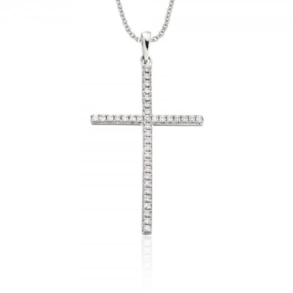Diamond Cross Pendant 0.30ct In 9K White Gold