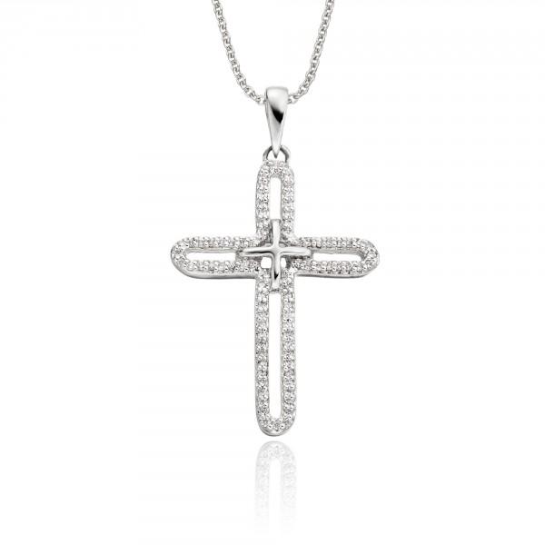 Eternity Diamond Cross Pendant 0.25ct In 9K White Gold