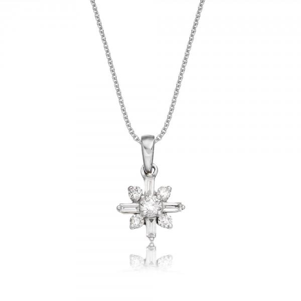 Jasmine 0.25ct Cluster Diamond Pendant In 9K White Gold