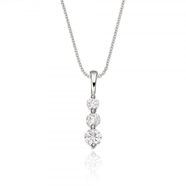 Trilogy 0.30ct Diamond Pendant In 18K White Gold