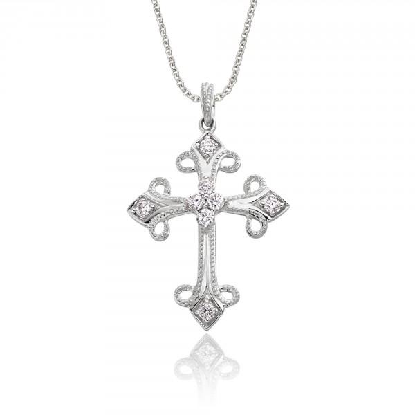 Diamond Cross Pendant 0.25ct In 9K White Gold