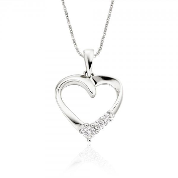 Trilogy Diamond Heart Pendant 0.15ct Diamond 18K White Gold