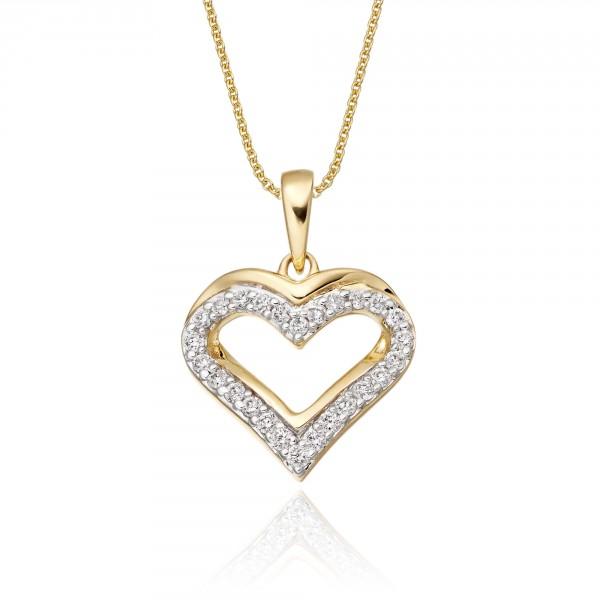 Classic Diamond Heart Pendant 0.25ct Diamond 9K Yellow Gold