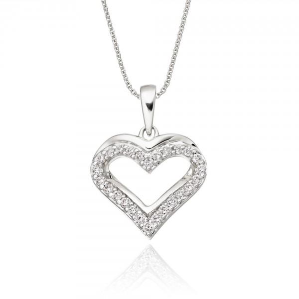Classic Diamond Heart Pendant 0.25ct Diamond 18K White Gold