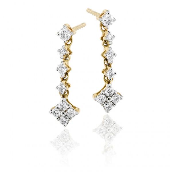 Cupids Arrow 0.40ct Diamond Earrings In 9K Yellow Gold