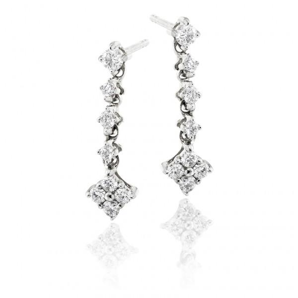Cupids Arrow 0.40ct Diamond Earrings In 9K White Gold