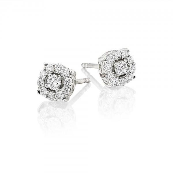Halo Diamond Cluster Earrings 0.30ct Studs 18K White Gold
