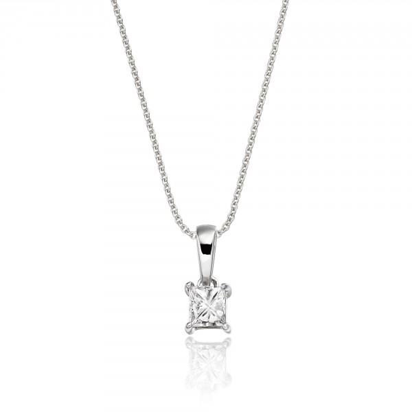 Solitaire 0.20ct 4 Claw Princess Diamond Pendant In 9K White Gold