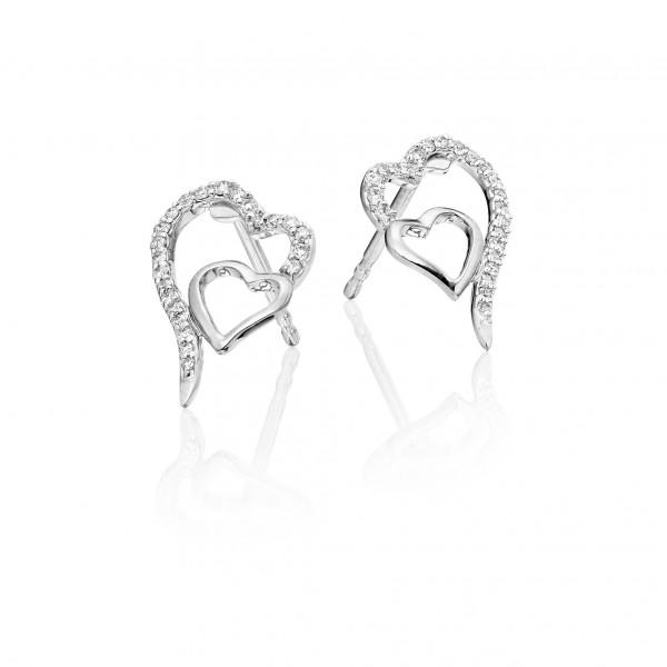 Diamond Heart Earrings 0.15ct Interlocking Hearts in 18K White Gold