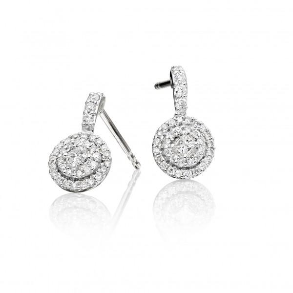 Round Diamond Cluster Earrings 0.40ct Studs 9K White Gold