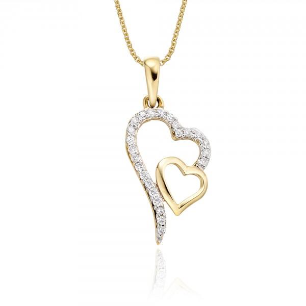 Yellow gold diamond heart pendants interlocking diamond heart pendant 012ct diamond 9k yellow gold aloadofball Choice Image