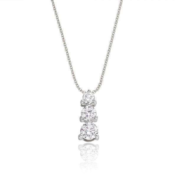 Graduating 3 Diamond 0.30ct Pendant In 18K White Gold