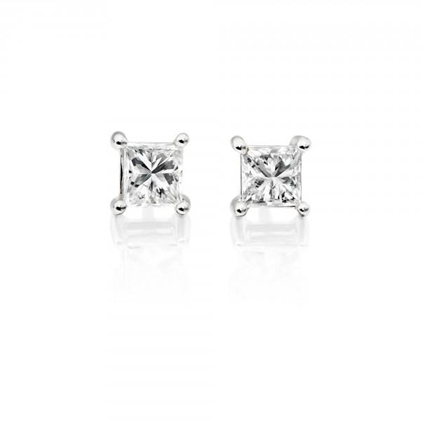 Diamond Stud Earrings 0.10ct Square Princess Diamond 18K White Gold
