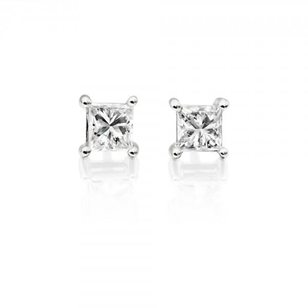 Diamond Stud Earrings 0.20ct Square Princess Diamond 18K White Gold