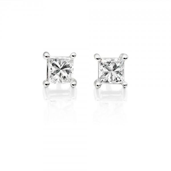 Diamond Stud Earrings 0.30ct Square Princess Diamond 18K White Gold