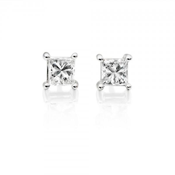 Diamond Stud Earrings 0.40ct Square Princess Diamond 18K White Gold