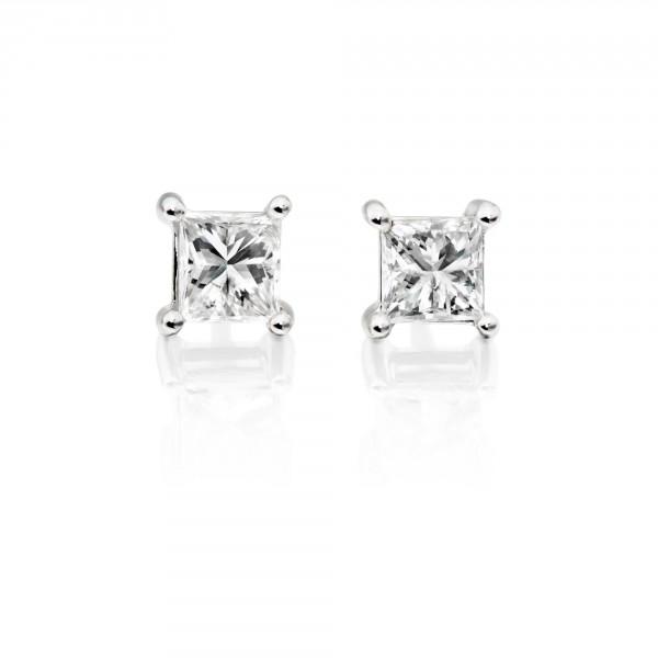Diamond Stud Earrings 0.50ct Square Princess Diamond 18K White Gold