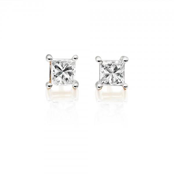 Diamond Stud Earrings 0.10ct Square Princess Diamond 18K Yellow Gold