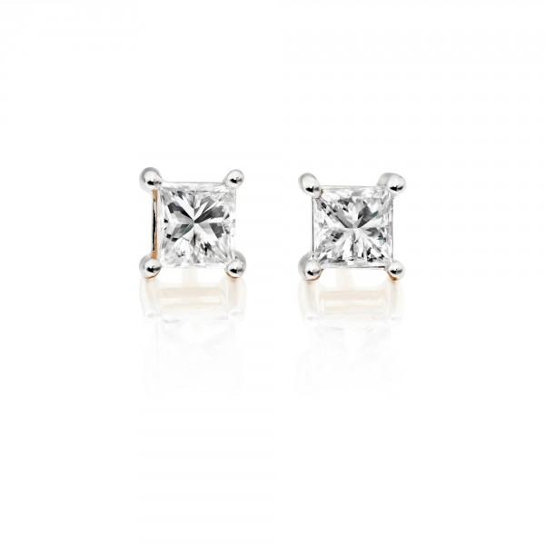 Diamond Stud Earrings 0.20ct Square Princess Diamond 18K Yellow Gold