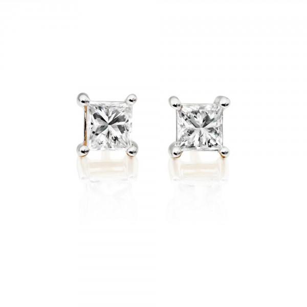 Diamond Stud Earrings 0.30ct Square Princess Diamond 18K Yellow Gold