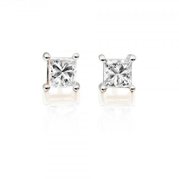 Diamond Stud Earrings 0.50ct Square Princess Diamond 18K Yellow Gold