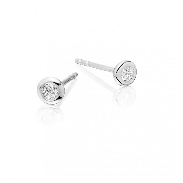 Diamond Stud Earrings 0.10ct Bezel Set Studs 9K White Gold-G/HSI