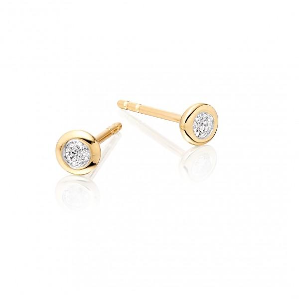 Diamond Stud Earrings 0.10ct Bezel Set Studs 18K Yellow Gold-G/HSI