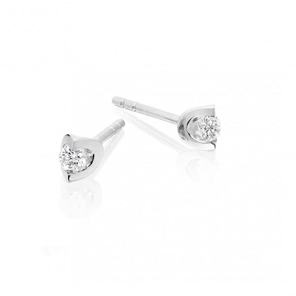 Diamond Stud Earrings 0.10ct 2 Claw Studs 9K White Gold-G/HSI