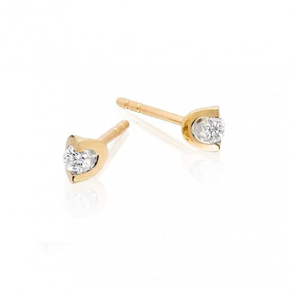 Diamond Stud Earrings 0.10ct 2 Claw Studs 18K Yellow Gold-G/HSI