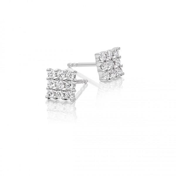 Square Diamond Cluster Earrings 0.35ct Studs 18K White Gold